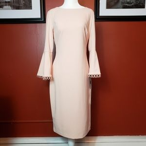 NWT Calvin Klein bell sleeve sheath dress